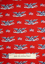 Windham American Heroes Eagle USA Flag Toss Red Cotton Fabric Patriotic YARD
