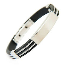 Unique Rubber 2 Layers Stainless Steel Men's Wristband Bangle Bracelet Jewelry