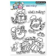PENNY BLACK RUBBER STAMPS CLEAR WHAT'S COOKING CAT BAKING STAMP SET