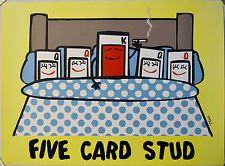 TODD GOLDMAN FIVE CARD STUD LITHOGRAPH LOW BROW SIGNED #207/350 W/COA