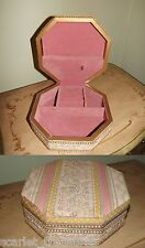 VINTAGE Fabric Covered Musical Jewelry Box Pastels