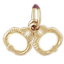 NEW 14k YELLOW GOLD POLICE HANDCUFFS CHARM PENDANT JEWELRY