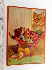 1881 Anthropomorphic Drunk Dressed Rats Wine Grapes Cat Victorian Trade Card F46
