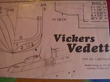 VINTAGE MODEL BOAT PLAN VICKERS VEDETTE TYPE 632 1,000 TON WARSHIP ALL ORIGINAL
