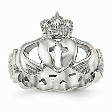 CHISEL BRAND  STAINLESS STEEL CLADDAGH WITH CROSS  WEDDING BAND / RING- SIZE 7