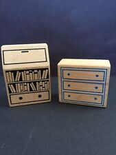 Wooden Wood Doll House Block Furniture Bookcase Dresser Toy