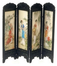 Chinese Folding Screen Dolls House Miniature Bedroom, oriental Design 1.12th