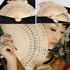Retro Chinese Japanese Fans Hollow Folding Bamboo Wooden Carved Hand Fan Gifts