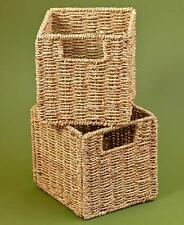 Storage Cubby Baskets Set of 2 Seagrass Steel Neutral Natural Folds Flat