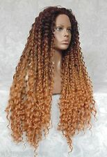 """5"""" Lace Front XLong Curly Auburn Ombre """"FUTURA"""" High Heat Synthetic Wig - WM17"""