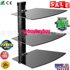 3 Shelf Floating Wall Mount DVD TV Component AV Console Cable Glass Stand NEW OY