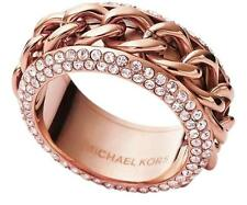 Auth New MICHAEL KORS Frozen Curb Ring Rose Gold Chain Pave with Dust Cover
