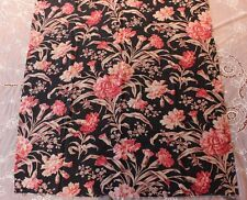 Beautiful Floral Rose Antique French c1880 Home Dec Black Ground Fabric Textile
