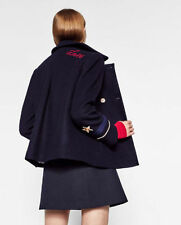 ZARA PATCH DETAIL JACKET MILITARY COAT WOOL NAVY BLUE XS SMALL 4 6 8 BLOGGERS