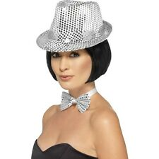 Women's Silver Sequin Trilby Hat Fancy Dress Dance Show Gangster Hen Party Fun