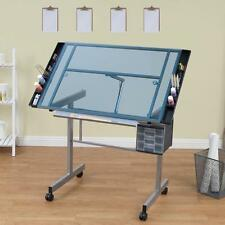 Studio Designs Vision Silver/Blue Glass Rolling Drafting and Hobby Craft Station