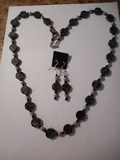 Picasso black serpentine disk beads  necklace/earring set
