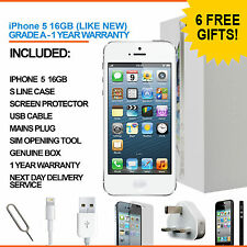 Apple iPhone 5 16GB White Silver Unlocked Grade A with BOX and Accessories