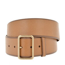 PRADA New Woman Brown SAFFIANO Textured Leather Belt Sz 85 Cm 34 Inch Made Italy