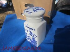 BLUE WILLOW REGAL MADE IN ENGLAND POTTERY CERAMIC SUGAR CANISTER WITH LID