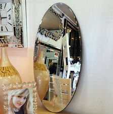 Beautiful Art Deco Oval Shape Wall Mirror Bevelled 80x40cm Plain Design Bargain