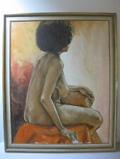 """Original Mid Century Painting Nude Black American Woman Afro Framed 22 x 27-1/2"""""""