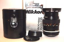 Mint! Nikon Micro Nikkor 55mm F/3.5 in Box w/Hood and Original Case from Japan