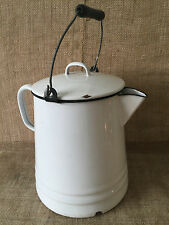 Vintage Enamelware Large White Black Trim Coffee Pot Wood Handle