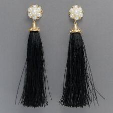 Gold Finish Pearl Cluster Black Fringe Tassel Designer Inspired Stud Earrings