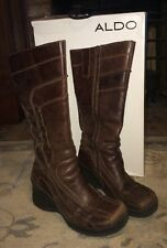 Womens Boots ALDO Cymbah WeDgE Size 8.5 US 39 EUR Brown Leather Zipper EUC w/box