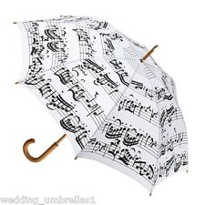 Clifton Deluxe Wood Shaft Long Rain Womens Umbrella White with Black Music