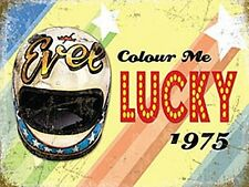 Evel Knievel Colour Me Lucky (Helmet) small steel sign  200mm x 150mm  (og)