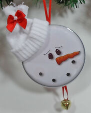6 CHRISTMAS ORNAMENTS COUNTRY STYLE SNOWMAN FACE W/ STOCKING HAT BELL RIBBON