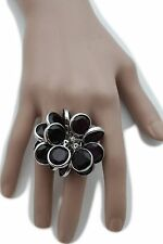 Women Silver Metal Chains Ring Fashion Jewelry Elastic Band Purple Beads Flower