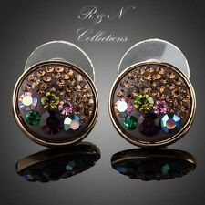 18K Gold Plated Made W/Swarovski Multicolour Austrian Crystal Round Earrings