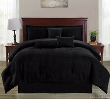13 Piece Black Micro Suede Comforter Sheet Set Queen Size @ Linen Plus