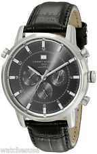 Tommy Hilfiger 1790875 Black Dial Leather Band Chronograph Men's Watch