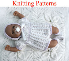 "Knitting pattern for 15-18 "" doll romper suit, hat and bootees"