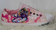 ED HARDY True Love  Graphic Pink Low Rise Sneakers Womans Pink Size 10