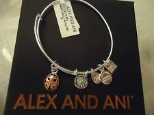 Alex and Ani LADYBUG Shiny Silver  UNICEF Charm Bangle New W/Tag Card & Box