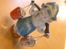 Great Vintage Hand Painted Japan Bisque Figurine Dutch Milk Maiden Water Carrier