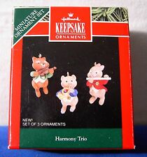 Hallmark 1992 Keepsake Miniature Ornament Harmony Trio Set of 3 pig fox bunny