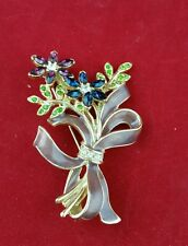 VINTAGE SIGNED MONET FLOWER BOUQUET PIN/BROOCH RIBBON RHINESTONES