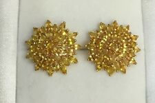 14k Solid Gold Cluster Stud Earrings with Natural Yellow Orange Sapphire