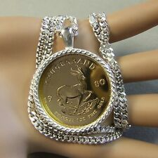 New Sterling Silver bullion pendant & chain will fit a one Oz gold krugerrand