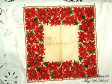 ANTIQUE VINTAGE RED POINSETTIA FLOWER FINE LINENS HANDKERCHIEF COLLECTIBLE