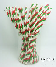 25 pcs Paper Drinking Straws Vintage Striped Drinking Straw For Party color 8