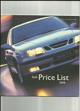 SAAB 93 & 95 RANGES - SE,COUPE,CONVERTIBLE + MORE PRICE LIST BROCHURE SEPT. 1999