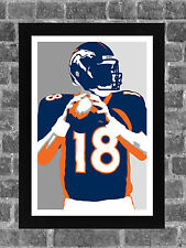 Denver Broncos Peyton Manning Sports Print Art 11x17