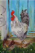 "Lucky Cockerel Decorative Ceramic Picture Tile Kitchen Wall Art NEW 8x12"" 05252"